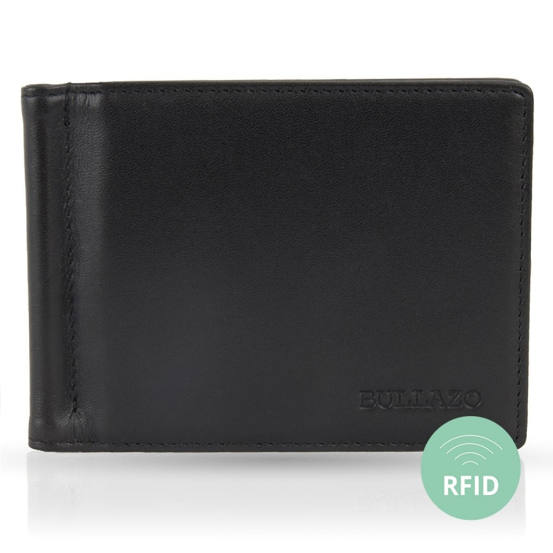 Mens RFID Blocking Business Card Case BULLAZO Contacto Genuine Leather Black Men/' s RFID Blocking Business Card Case contact/_001/_black