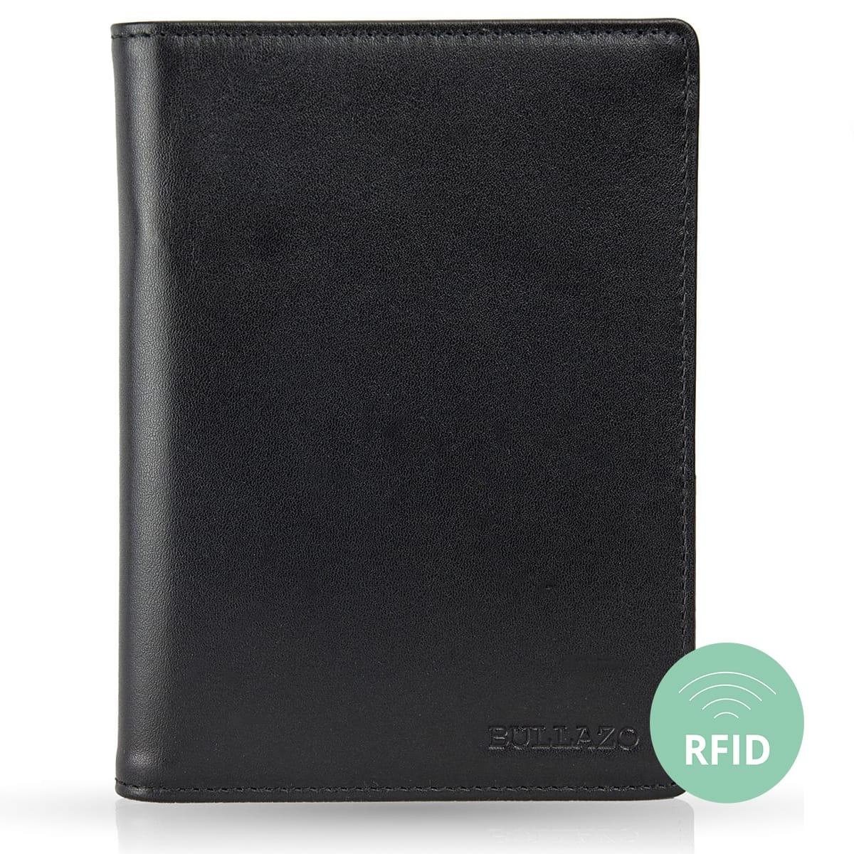 BULLAZO Plano Grau Edle gro/ße Reisepassh/ülle aus Leder mit RFID Schutz