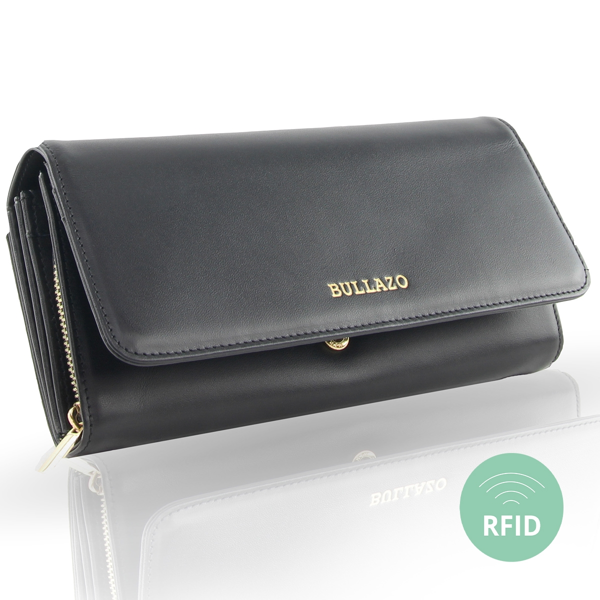 Leather wallet for women - extra large and with RFID blocker 4c1d866505b5