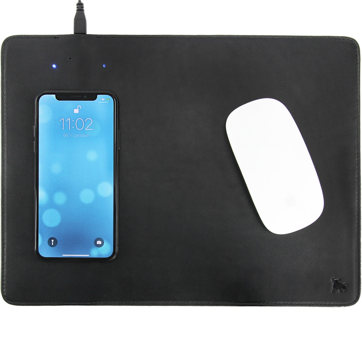 Mouse pad with wireless charging station